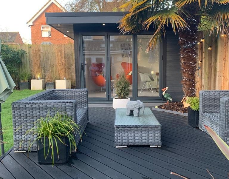 Garden Room In Leicester, With Composite Decking For Outdoor Seating Area Copy Copy